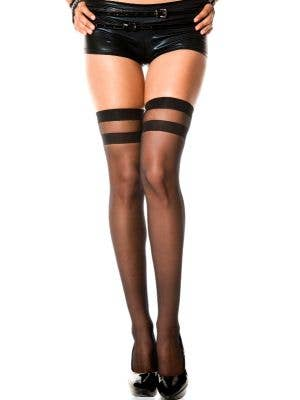 Striped Top Sheer Thigh Highs in Black