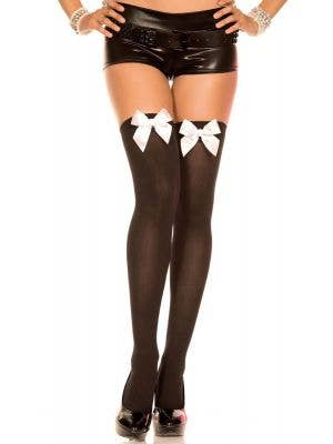 Thigh High Black Stockings with White Bows
