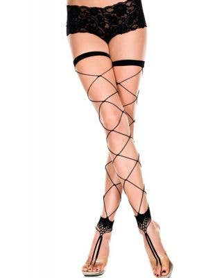 Wide Fence Net Footless Thigh High Stockings