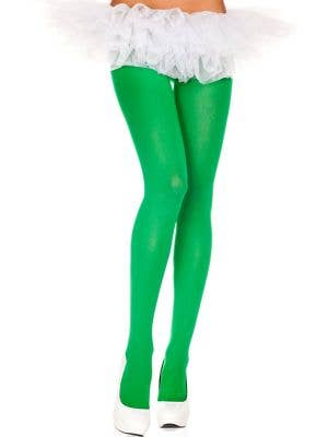 Opaque Green Women's Pantyhose Costume Accessory