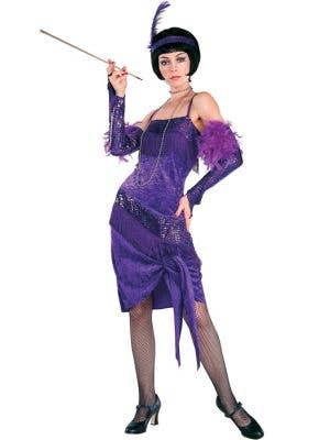 Women's Deep Purple Great Gatsby 1920's Costume Front View