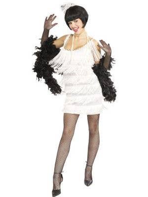 Great Gatsby Women's White Fringed Flapper Dress Front View