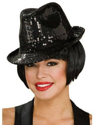 Sequined Black Adult's Fedora Hat