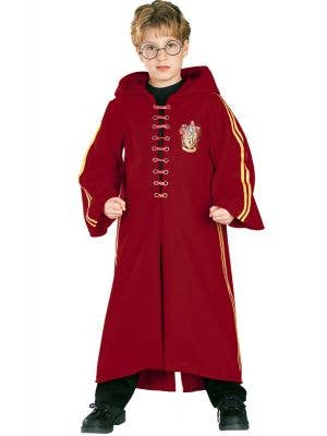 Boy's Harry Potter Deluxe Quidditch Red Robe Costume Front View