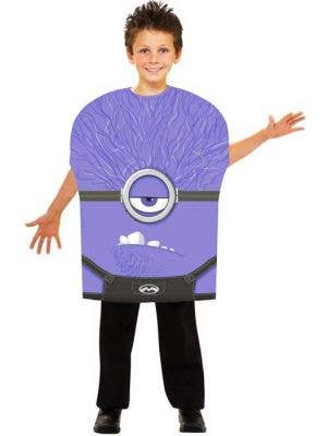 Boy's Evil Minion Purple Movie Character Costume Front View