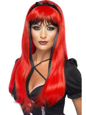 Bewitching Red and Black Halloween Wig