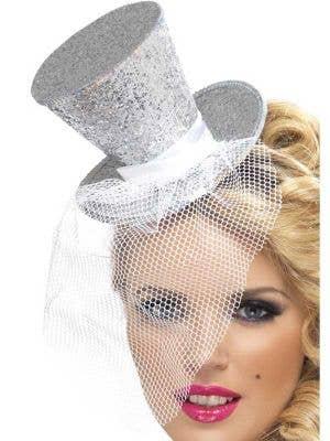 Fever Glitter Mini Top Hat - Silver