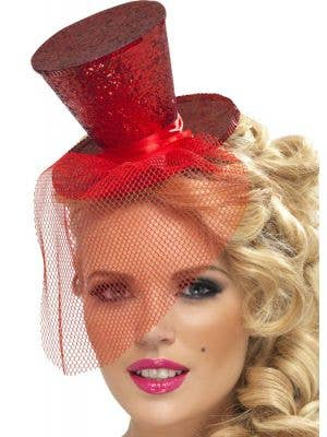 Fever Glitter Mini Top Hat - Red