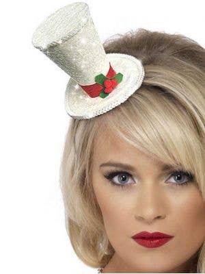 Mini White Glitter Christmas Top Hat