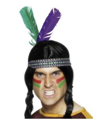 Novelty Indian Feathered Headband
