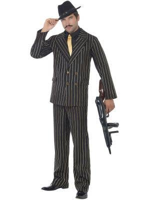 Men's Mafia 1920's Gangster Gold Pinstripe Costume Front View