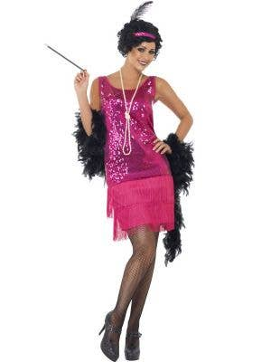 Hot Pink Sequinned Women's 1920's Flapper Costume Front View