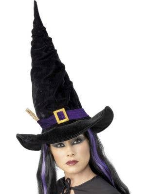Twisty Black Velour Witch Hat With Buckle