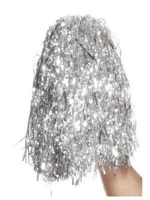 Metallic Cheerleader Silver Pom Poms