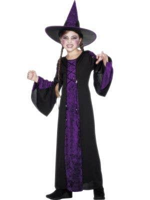 Girl's Purple and Black Witch Costume Robe Front