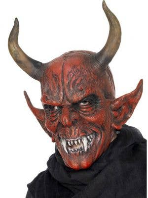 Horned Red Demon Latex Halloween Mask