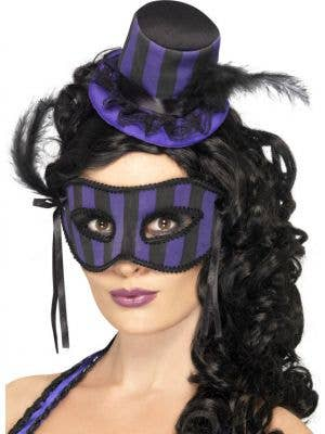 Grotesque Burlesque Hat and Mask Set - Purple and Black