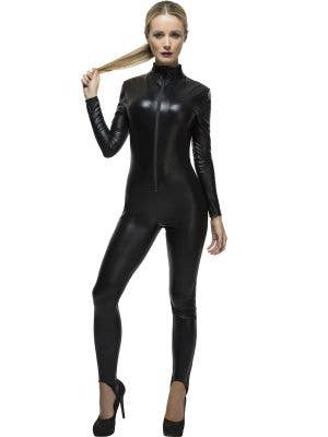Women's Sexy Black Wet Look Catwoman Costume Main Image