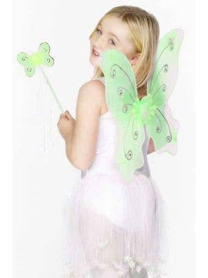 Glitter Butterfly Kids Green Wings and Wand Set