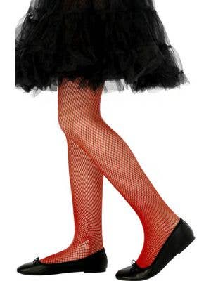 Red Fishnet Costume Stockings for Kids