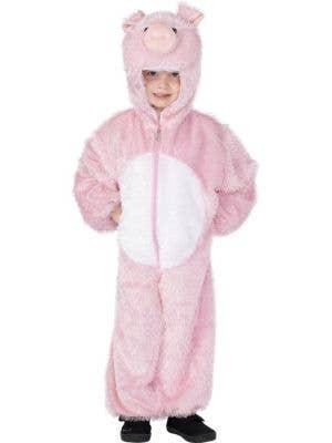 Kid's Pink Pig Farm Animal Onesie Book Week Costume Front