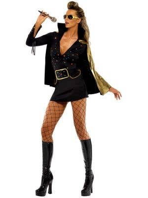 Women's Black and Gold Elvis Fancy Dress Costume Front View