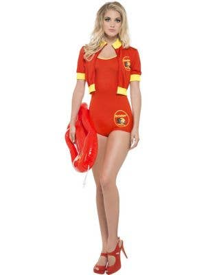 Women's Red Baywatch Babe Fancy Dress Costume Front View