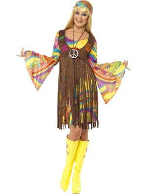 Women's 60's Short Hippy Fancy Dress with Long Sleeves Front