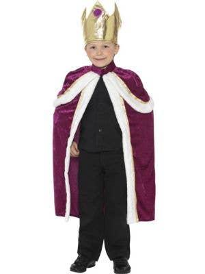 Boy's Royal King Medieval Burgundy Costume Front