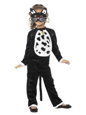 Girl's Black Cat Animal Onesie Fancy Dress Costume Front