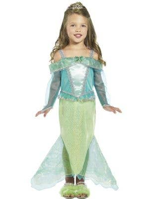 Girl's Green and Teal Mermaid Costume Front View