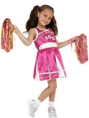 Girl's Hot Pink School Cheerleader Costume Front View
