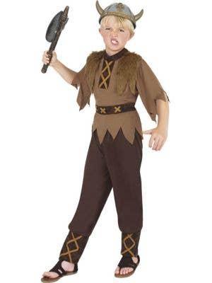 Boy's Brown Viking Warrior Costume Front View
