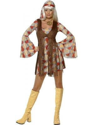 Women's 70's Fringed Hippie Fancy Dress Costume Front View