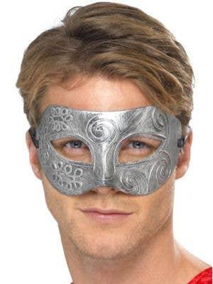 Colombina Men's Antique Silver Masquerade Mask