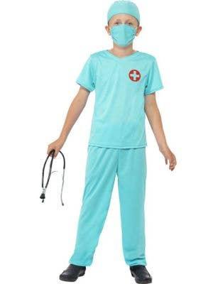Boy's Medical Doctor Green Scrubs Fancy Dress Costume Front