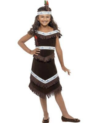 Dark Brown Girl's Native American Indian Costume Front View