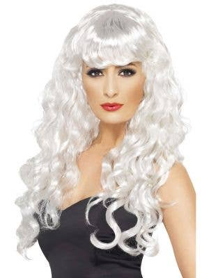 Women's Curly Long White Wig with Fringe