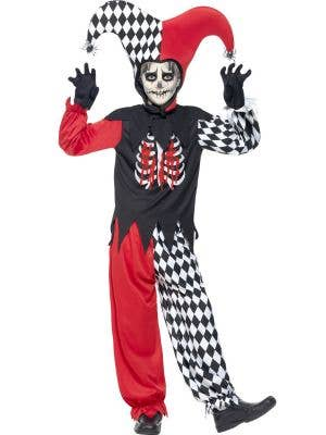 Boy's Creepy Jester Harlequin Halloween Costume Front View