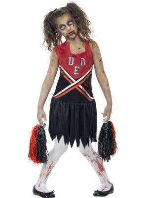 Cheerleader Girl's Zombie Costume Front View