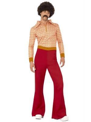 Authentic 70's Guy Retro Men's Hippie Costume Front view