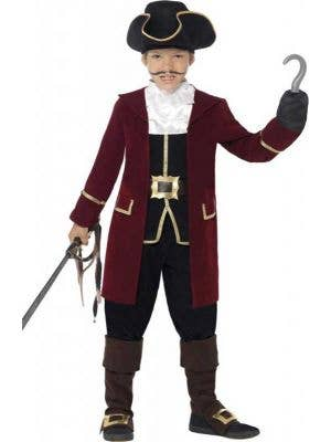 Boy's Captain Hook Burgundy Pirate Costume Front View