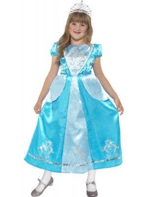 Girl's Blue Princess Fancy Dress Cinderella Costume Front View