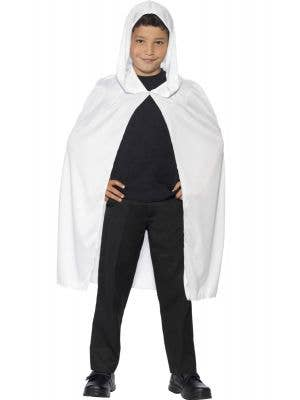 Kids White Hooded Costume Cape Main Image
