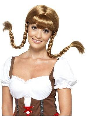 Bavarian Babe Women's Oktoberfest Brown Plaited Wig