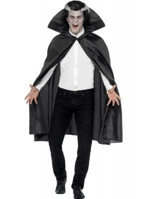 Men's Basic Black Halloween Vampire costume Cape Main Image
