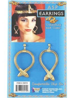 Cleopatra Gold Asp Clip-On Earrings