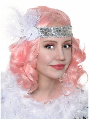 Roaring 20's Silver and White Flapper Headband