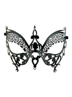 Butterfly Lightweight Black Metal Masquerade Mask