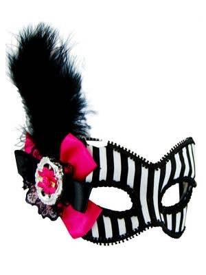 Striped Black and White Masquerade Mask on Glasses